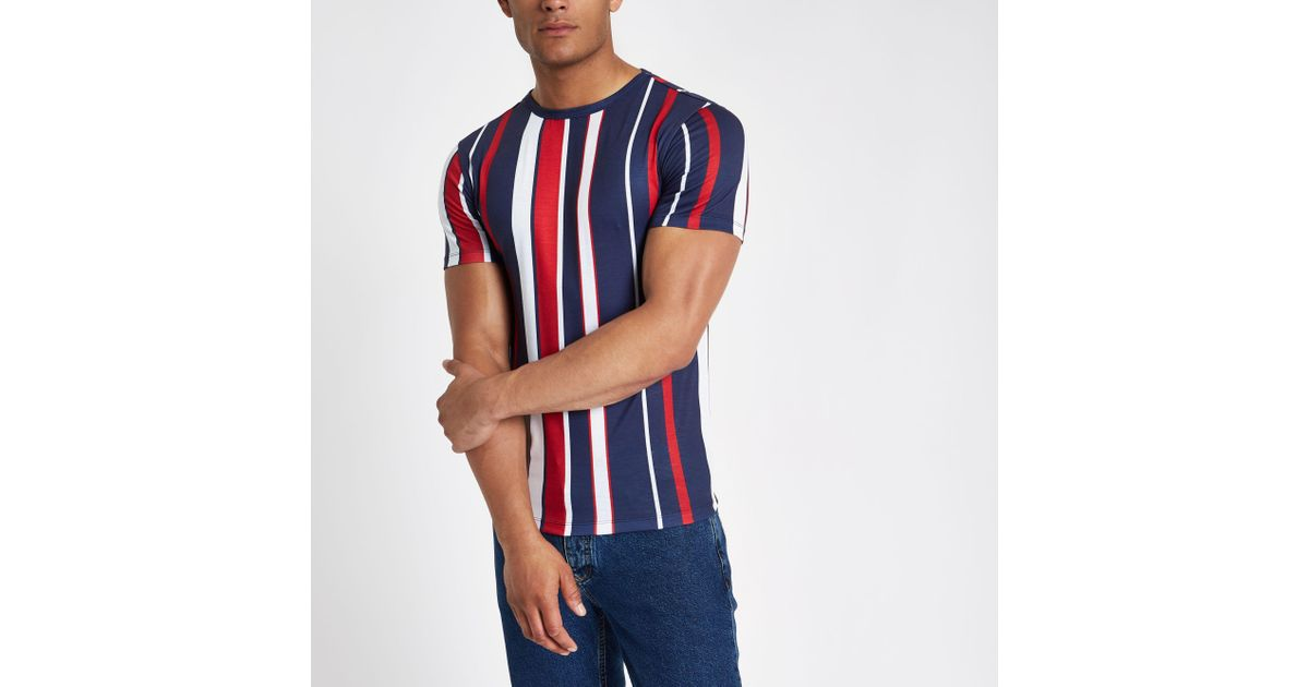 095734218961 Lyst - River Island Muscle Fit T-shirt In Navy And Red Stripe in Red for Men