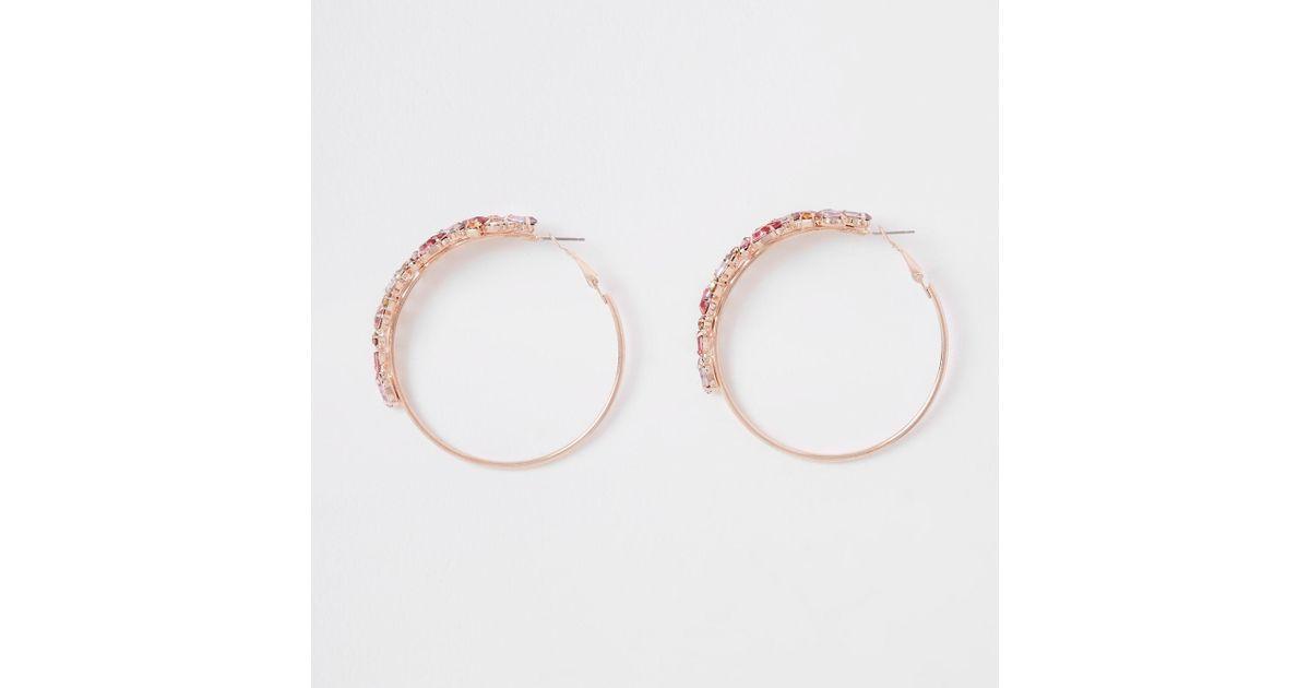 273fa7dde Lyst - River Island Rose Gold Color Jewelled Hoop Earrings in Metallic