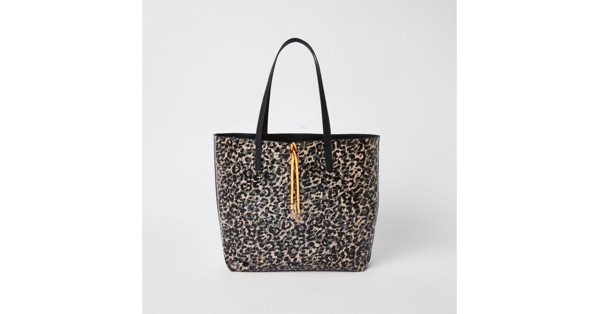 7ad5c8bd87f9 River Island Leopard Print Shopper Bag in Black - Lyst
