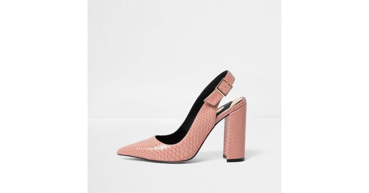 2e41d8bac04 River Island Pink Snake Slingback Block Heel Court Shoes