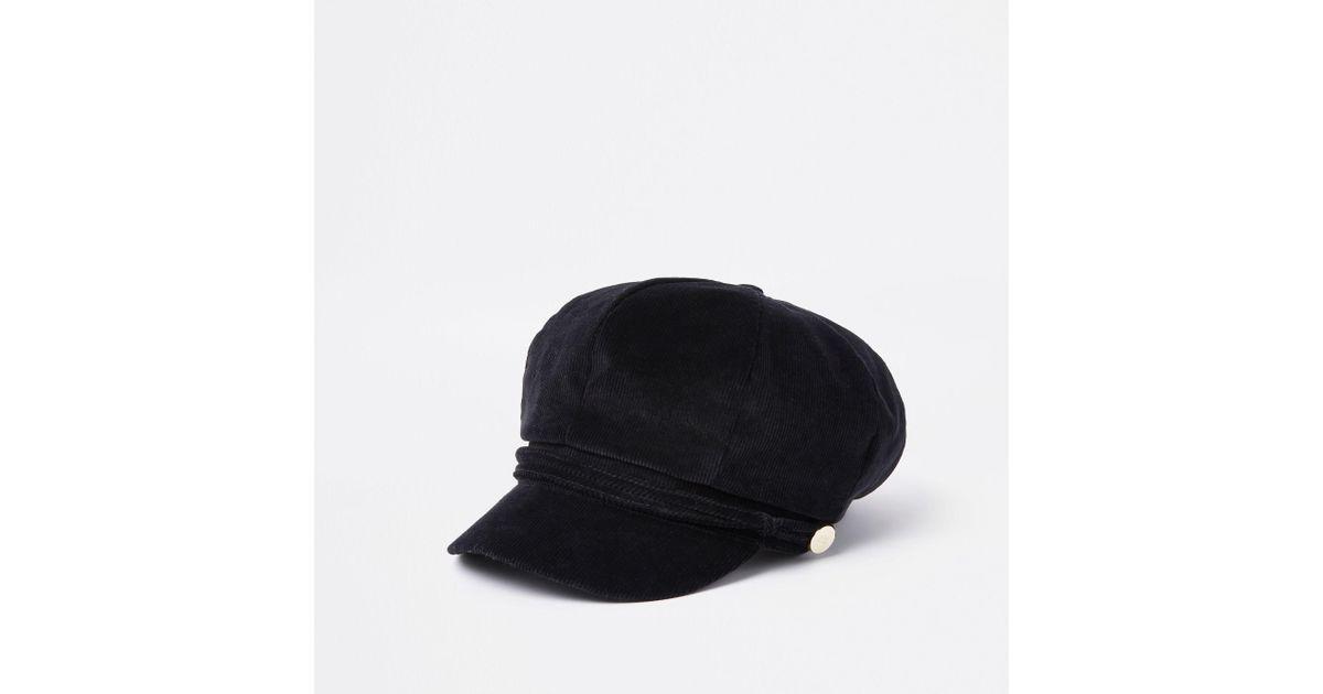 550f32083 River Island Black Cord Baker Boy Hat