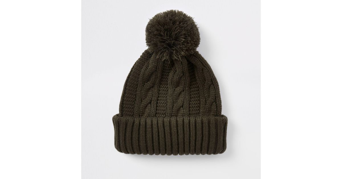 ac0b3c10c0d Lyst - River Island Knit Bobble Beanie Hat for Men