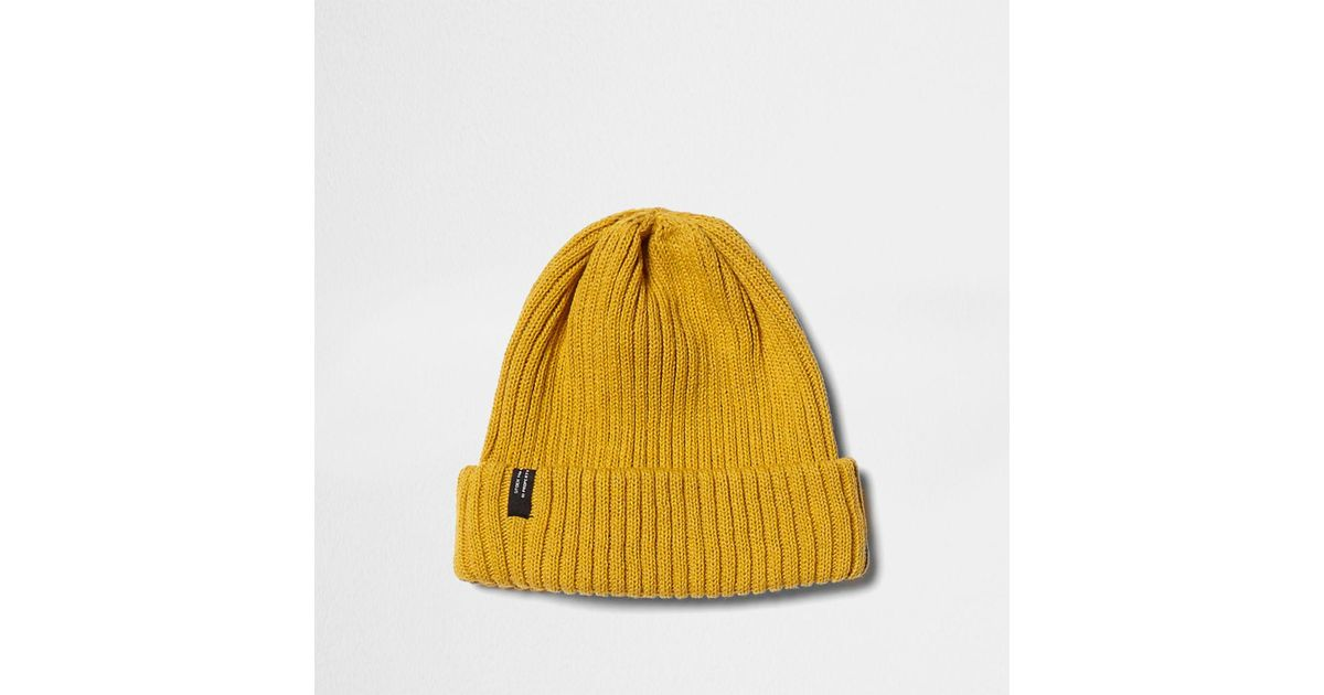 c5f61b16a95 Lyst - River Island Mustard Ribbed Knit Beanie Hat Mustard Ribbed Knit  Beanie Hat in Yellow for Men