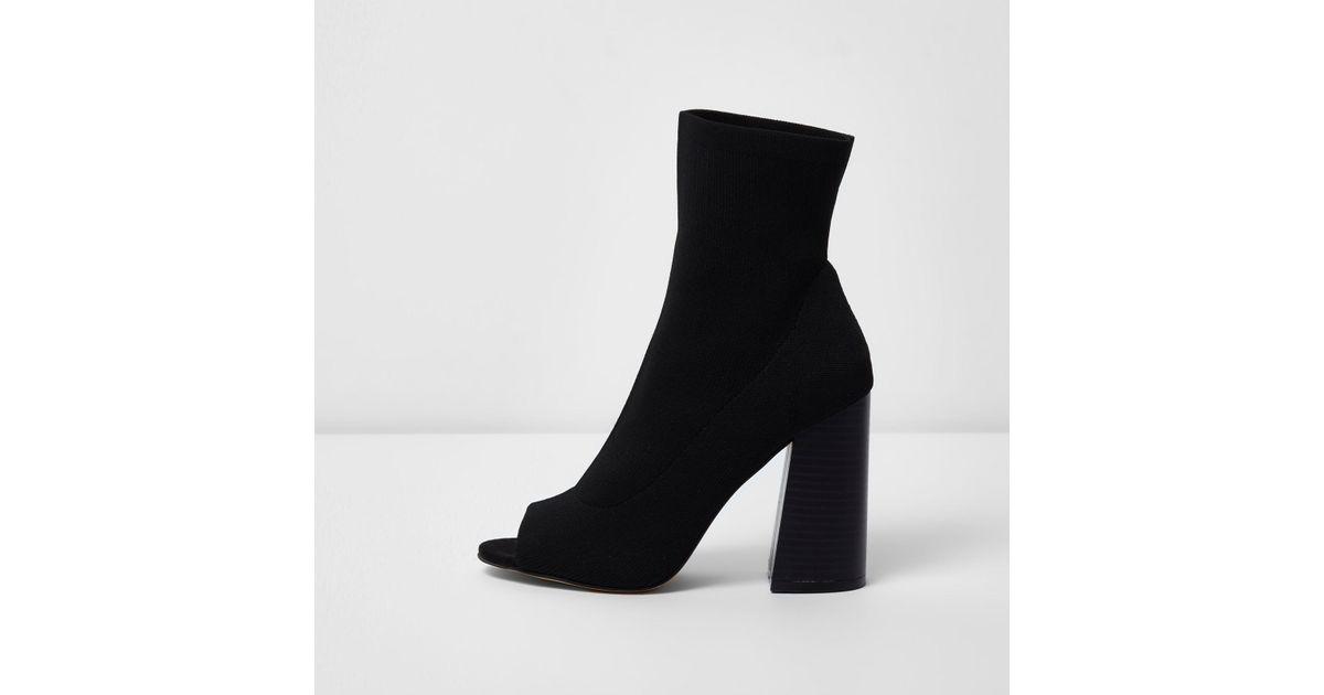 Peep Toe Heeled Knit Sock Boots - Lyst