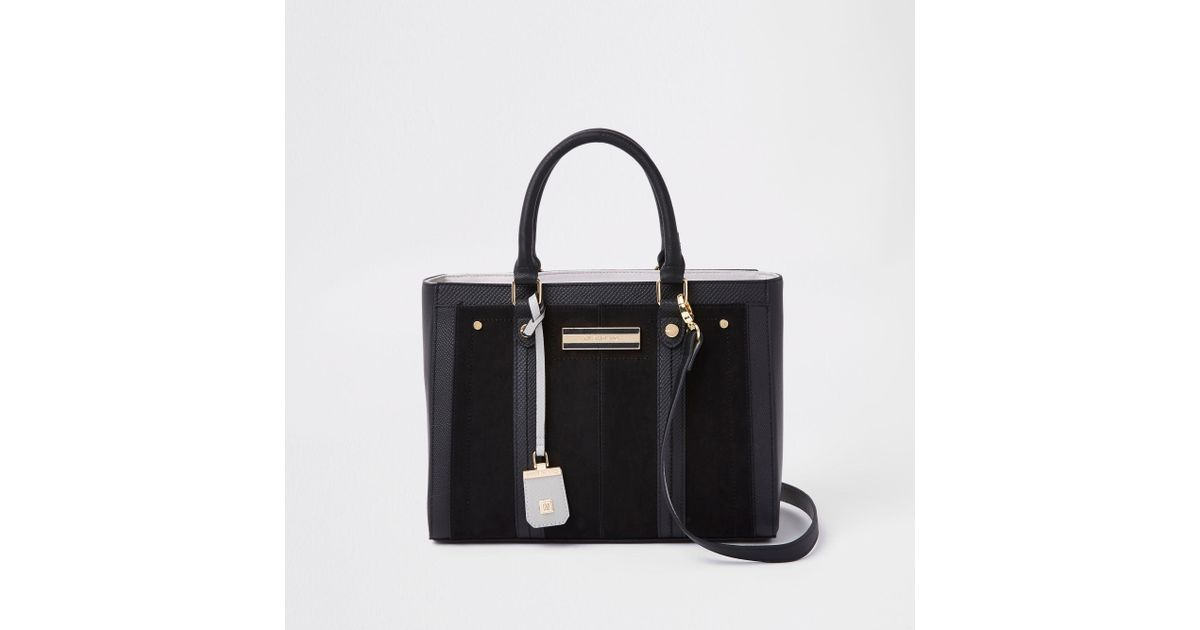 1701d2bb45 River Island Black Faux Leather Boxy Tote Bag in Black - Lyst