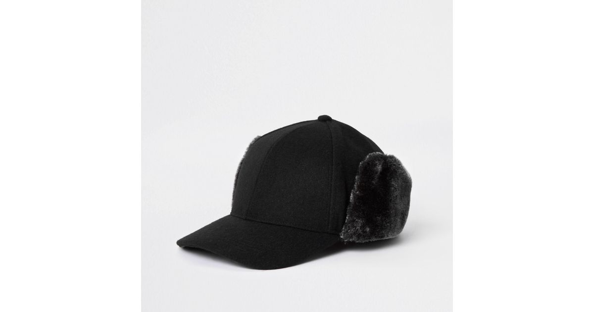 0e426ded River Island Black Faux Fur Deerstalker Cap in Black for Men - Lyst