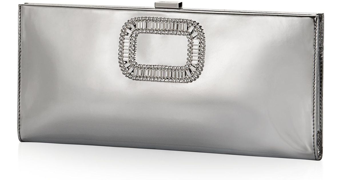 Lyst - Roger Vivier Pilgrim Clutch Bag In Mirrored Leather in Gray 92d4f8cc1f