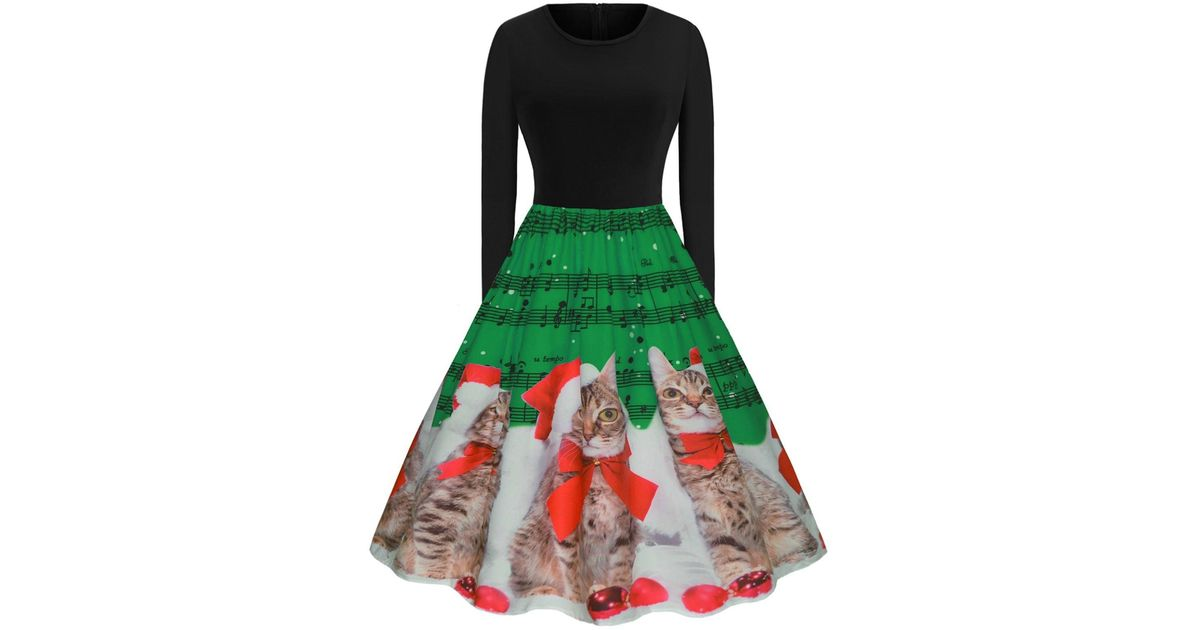 Rosegal Green Plus Size Christmas Printed Vintage Party Dress