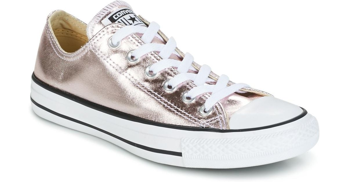 Converse Chuck Taylor All Star Metallic Canvas Ox Rose Quartz white black  Shoes (trainers) in Metallic - Lyst d0e227743