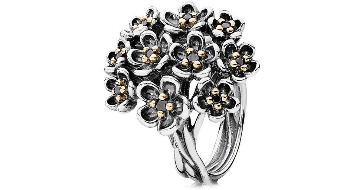 5334278063564 Pandora Black Forever Bloom 14k Two-tone Spinel Ring