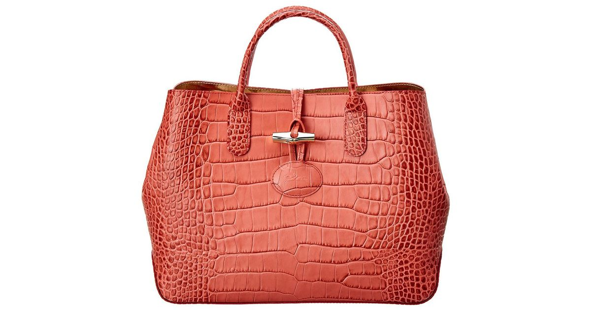 Longchamp Pink Roseau Croco Small Embossed Leather Tote