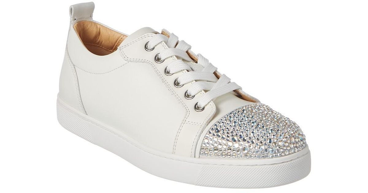 cca2181b030 Christian Louboutin White Junior Strass Leather Sneaker