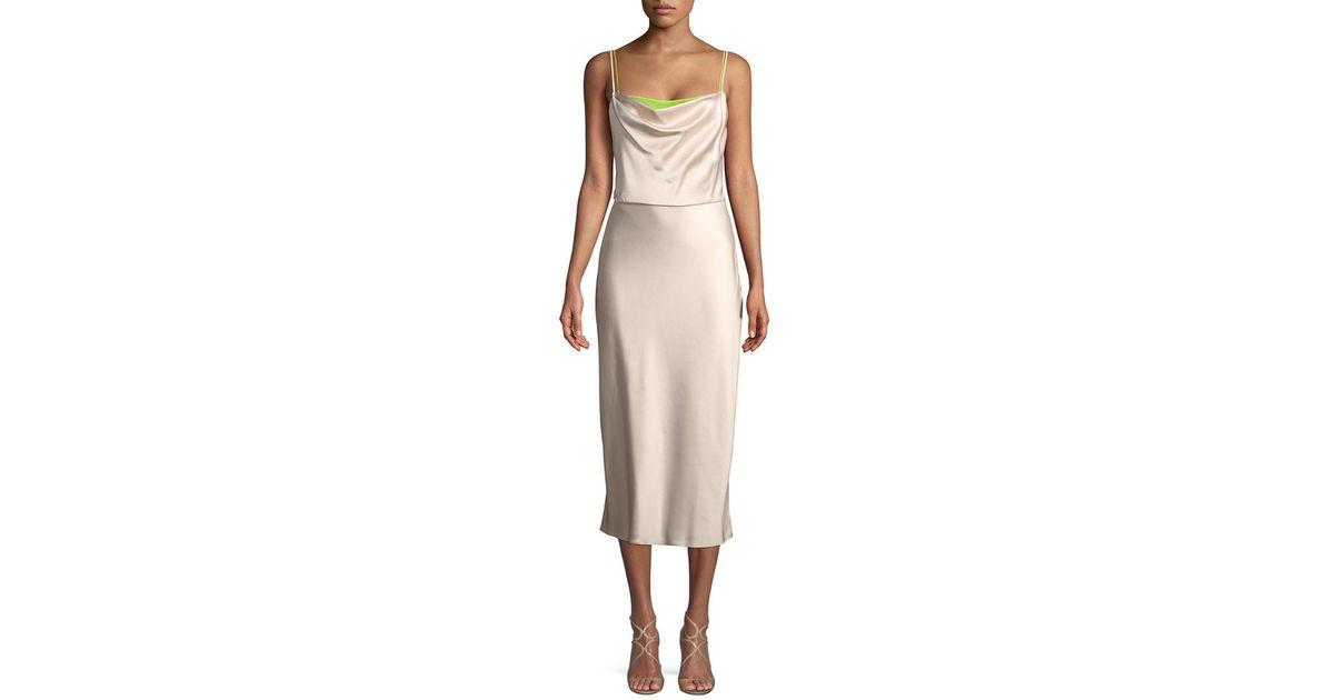 95f3435f55f3 Lyst - Jason Wu Drape Midi Dress in Pink
