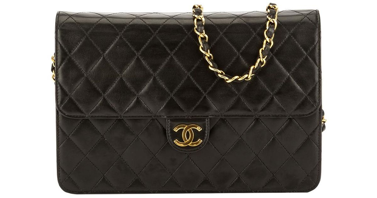 680e9ca273aae Lyst Chanel Black Quilted Lambskin Leather Small Single Flap Ex
