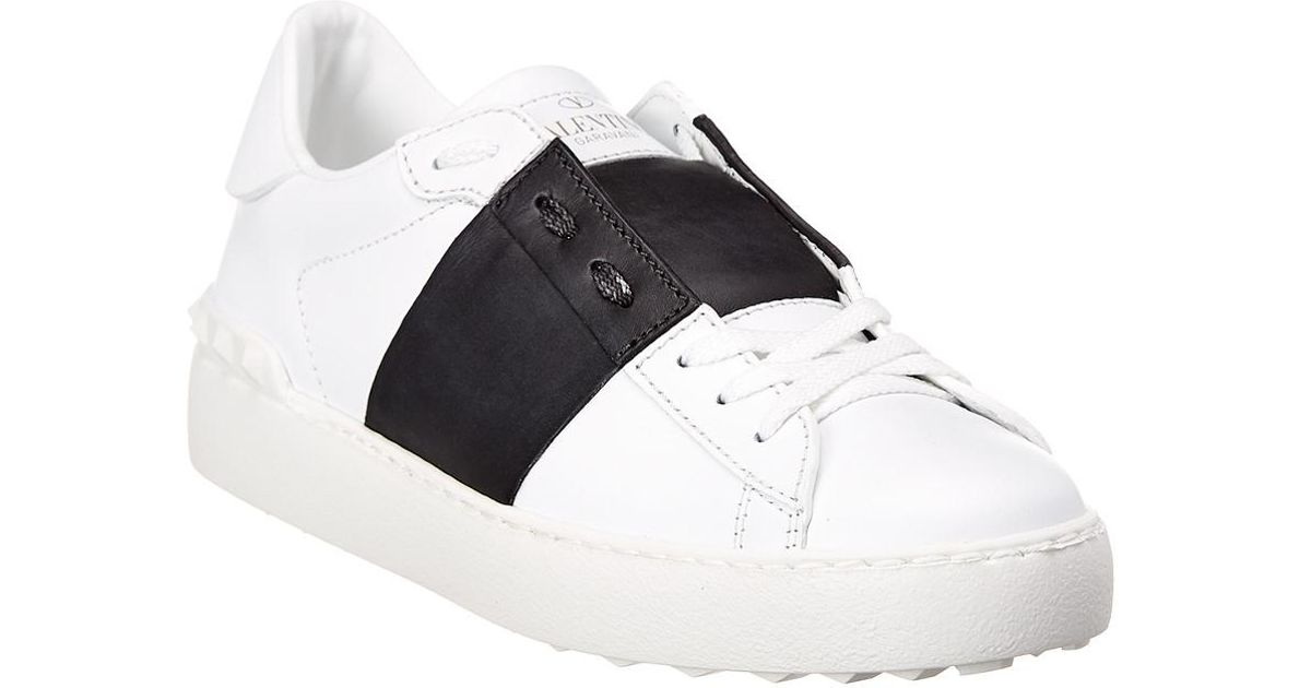 Valentino Matte Open Leather Sneaker in