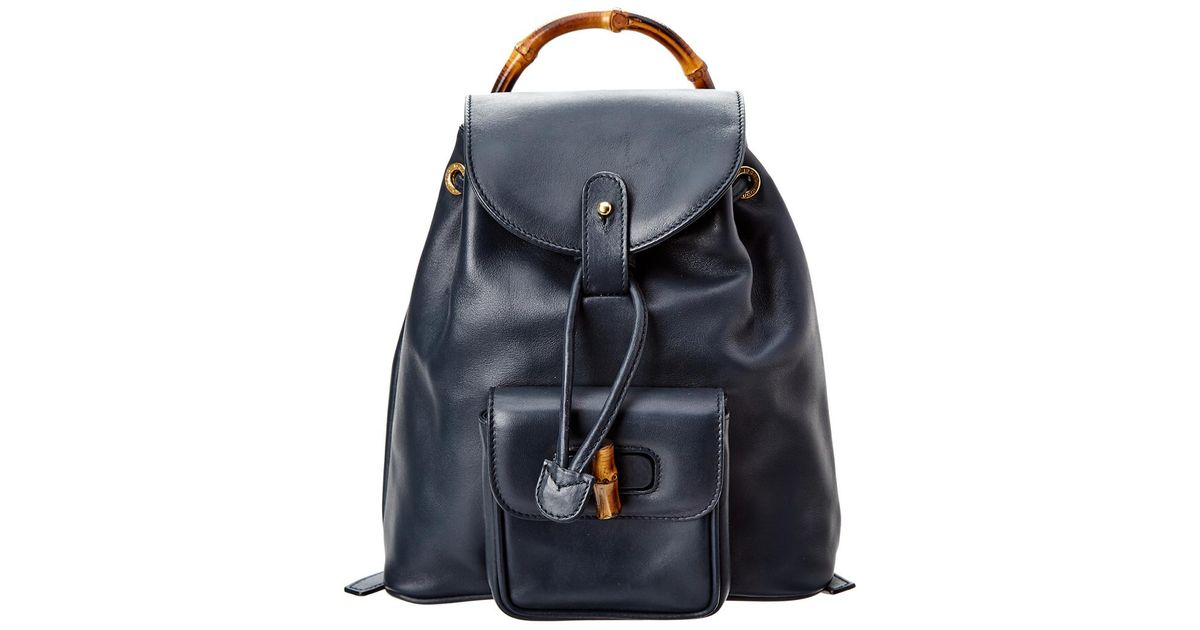 73c3edd6b3ba Lyst - Gucci Navy Leather Limited Edition Bamboo Backpack in Blue