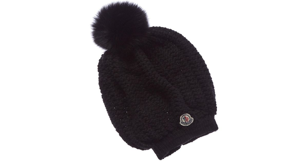 99a6d8a399b Lyst - Moncler Bobble Top Wool   Cashmere-blend Beanie in Black