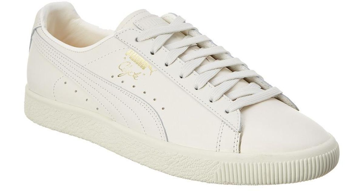 low priced 1ec80 7b6b0 PUMA White Men's Clyde Natural Leather Sneaker for men