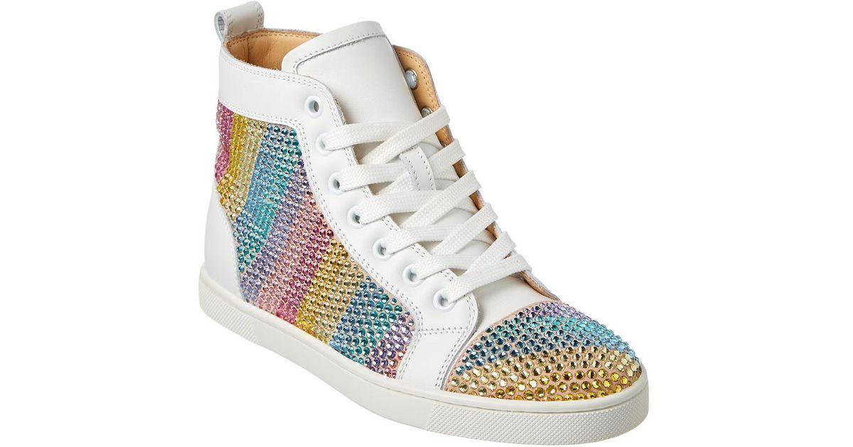 573ff3c6b8b Lyst - Christian Louboutin Rainbowbip Veau Velours Embellished Leather  Sneaker in White