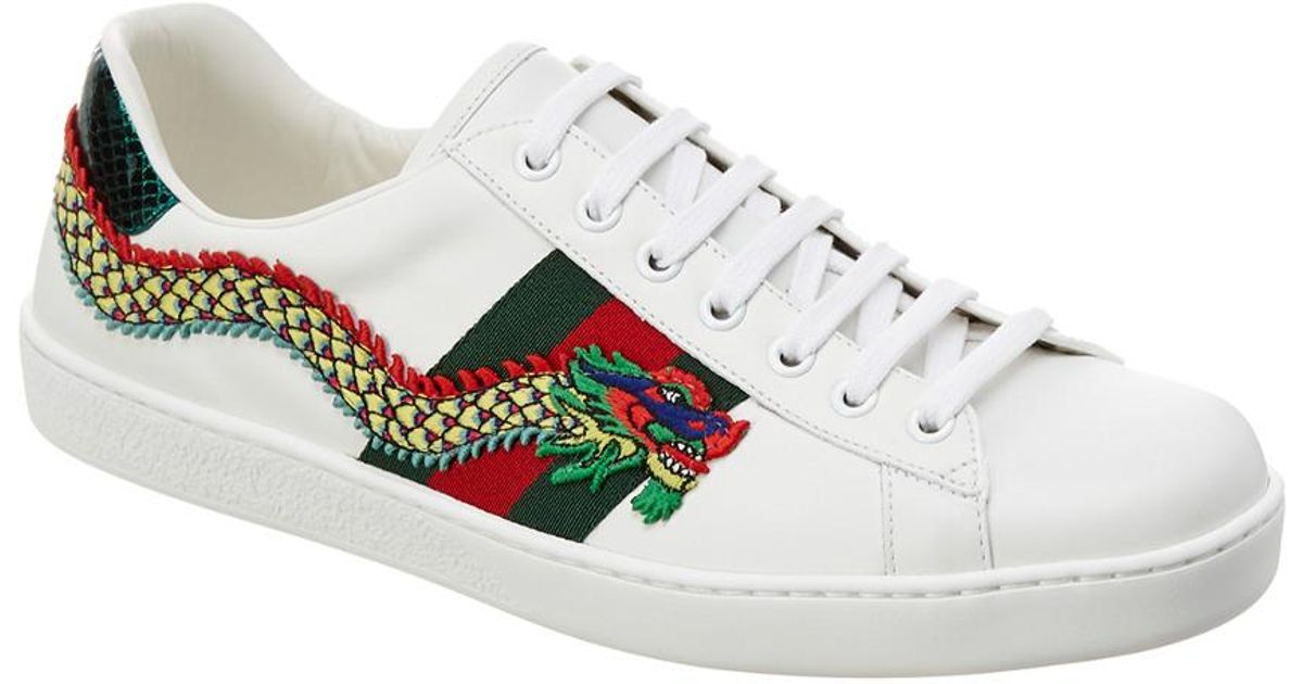 6b64e755926 Lyst - Gucci Ace Dragon Appliqué Leather Low-top Sneaker in White for Men
