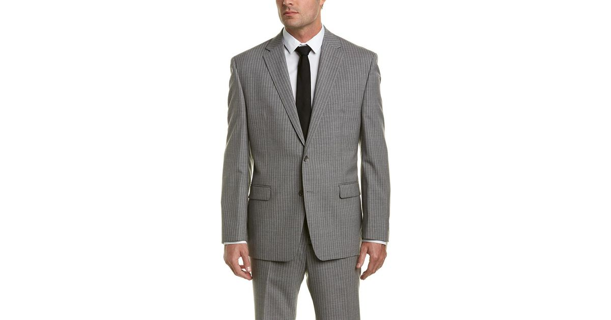 Austin Reed 2pc Wool Suit With Flat Front Pant In Grey Grey For Men Lyst