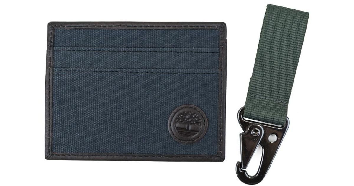 uk availability 868ee 4ccdc Timberland - Blue Canvas Card Case W/ Key Fob Gift Set for Men - Lyst