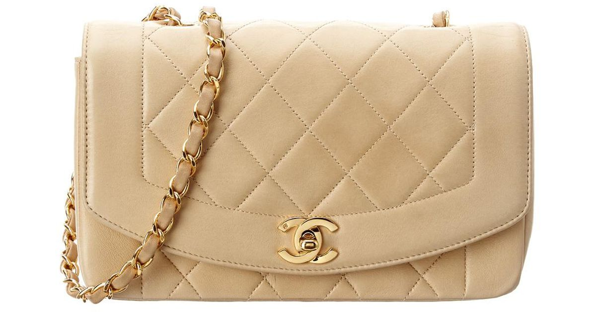 1fe8a200dbf8 Chanel Beige Quilted Lambskin Diana Flap Bag in Natural - Lyst