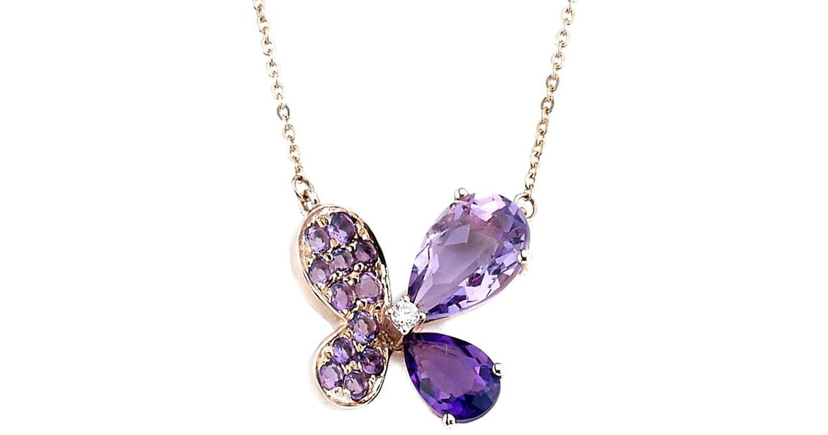 Fine Jewelry Womens Multi Color Amethyst 14K Gold Over Silver Pendant Necklace o4MaY7ff