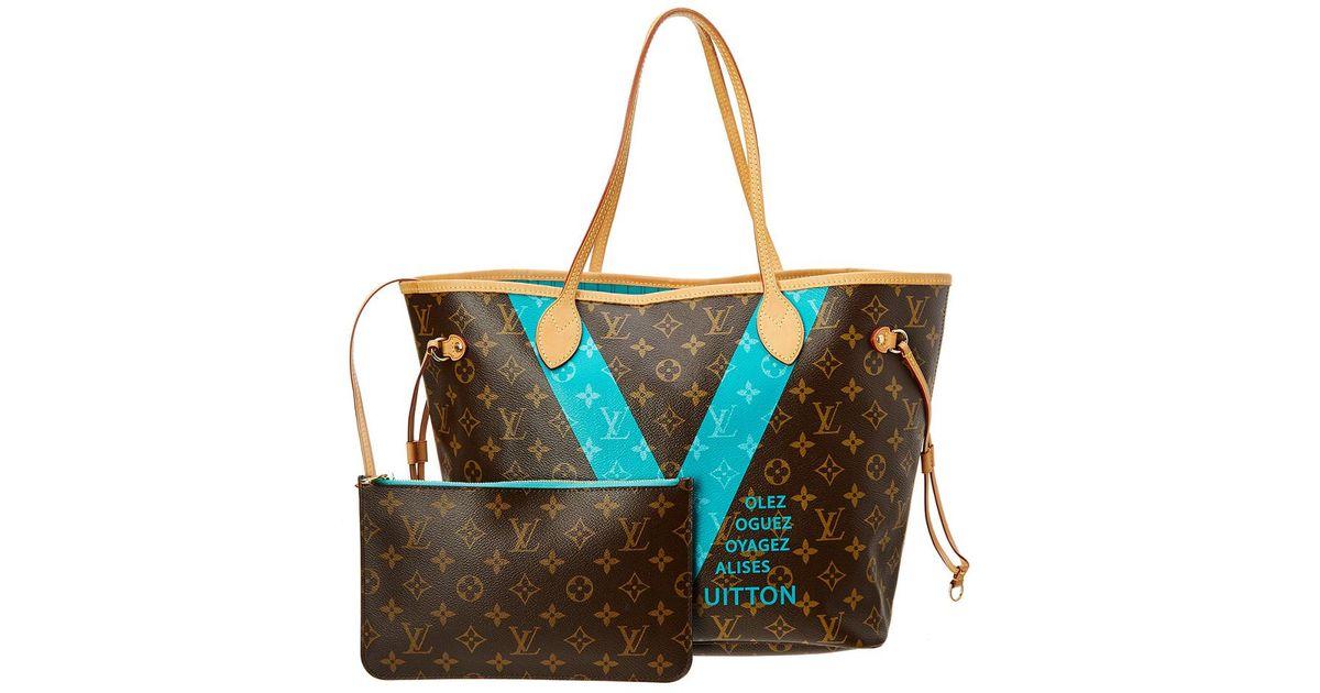 Lyst - Louis Vuitton Limited Edition Aqua V Monogram Canvas Neverfull Mm Nm 57f769867e08a