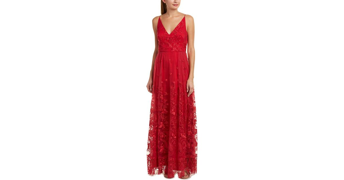 Lyst - Ml Monique Lhuillier Gown in Red