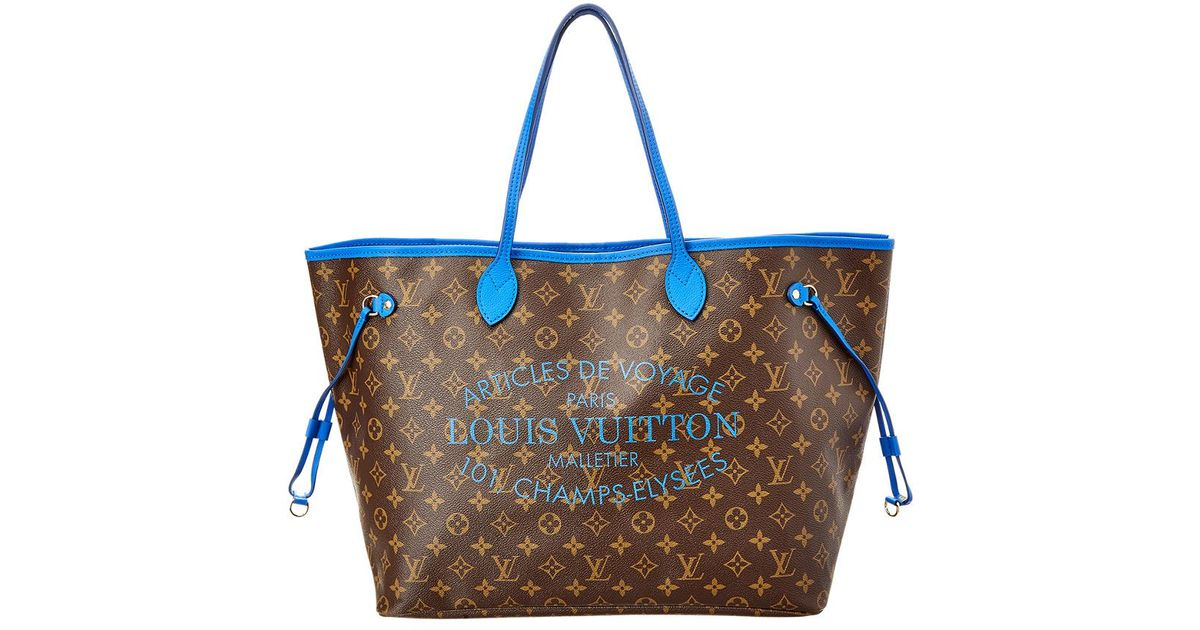 31179f36702d Lyst - Louis Vuitton Limited Edition Blue Ikat Flower Neverfull Gm in Blue