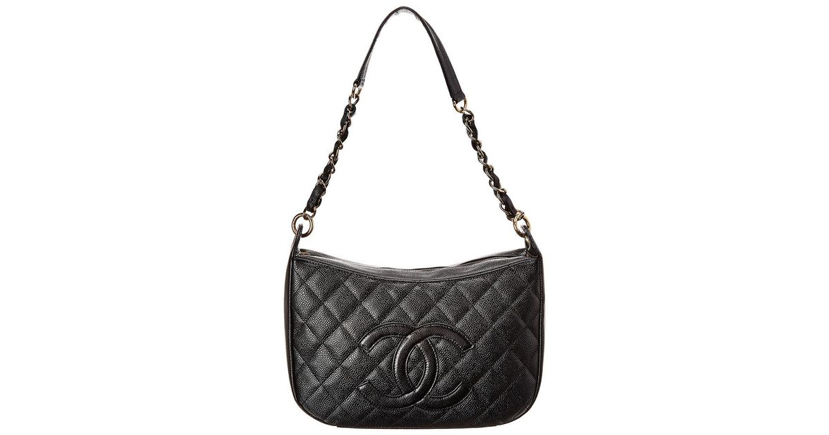c4c6563316a8 Chanel Black Quilted Caviar Leather Timeless Cc Shoulder Bag in Black - Lyst