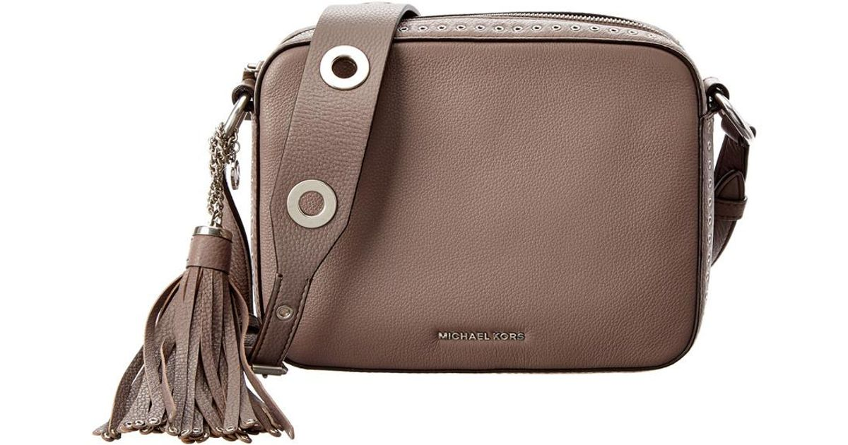 d40753c2689b50 Lyst - MICHAEL Michael Kors Brooklyn Large Leather Camera Bag in Gray