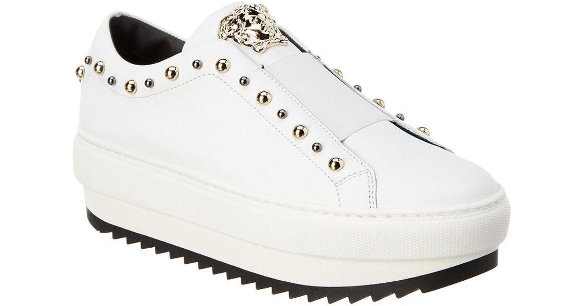 562a448b1f4 Lyst - Versace Medusa City Stud Leather Platform Sneaker in White