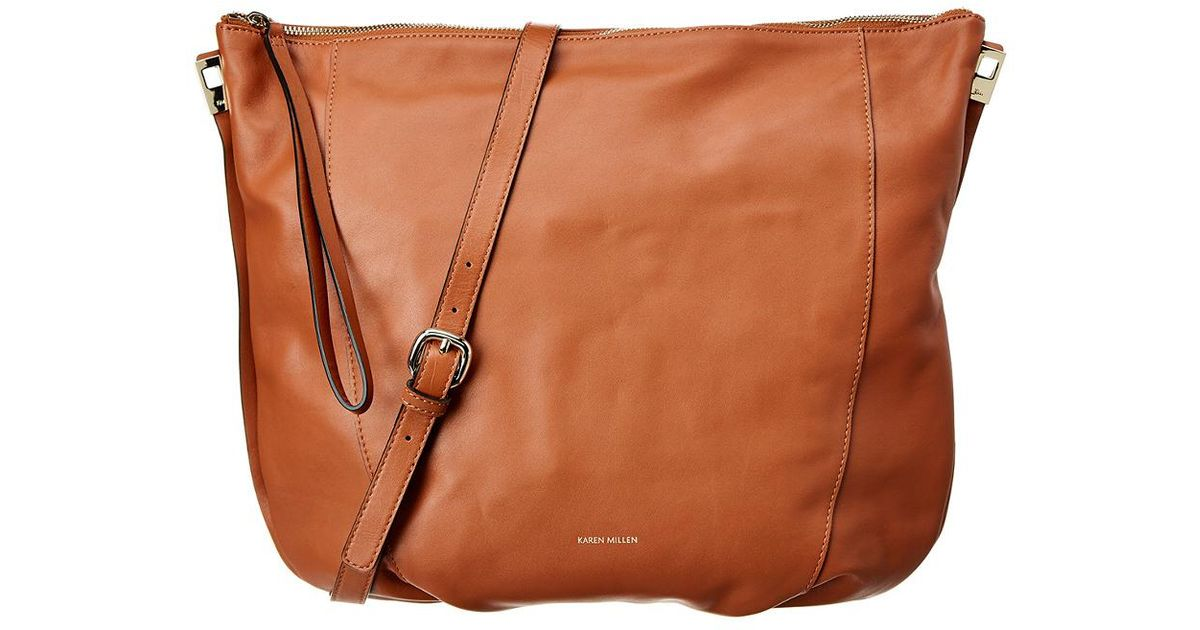 64ecf8513d Karen Millen Chain Handle Leather Sling Bag in Brown - Lyst