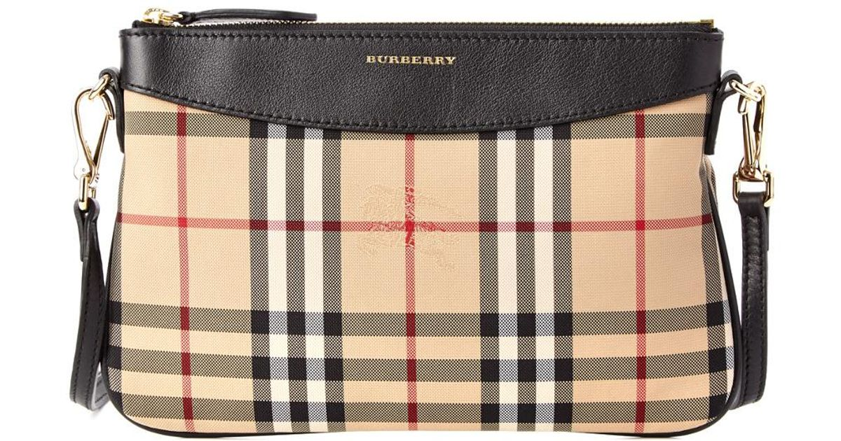 Lyst - Burberry Peyton Horseferry Check   Leather Clutch Bag in Black 9b9375f326db6