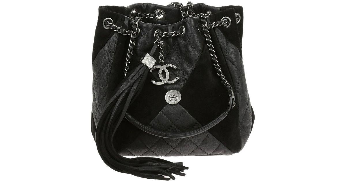 ed7800d1a766 Chanel Black Goatskin Suede Calfskin Cc Bundle Drawstring Bag in Black -  Lyst