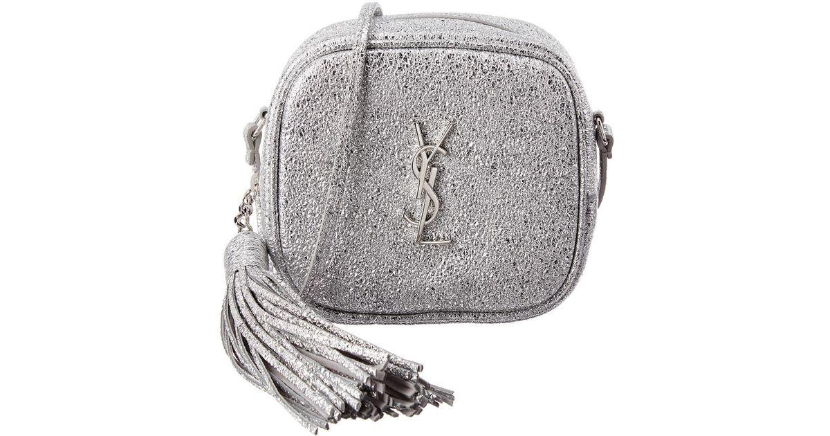 10f32c58957 Saint Laurent Monogram Glitter Leather Blogger Bag in Metallic - Lyst