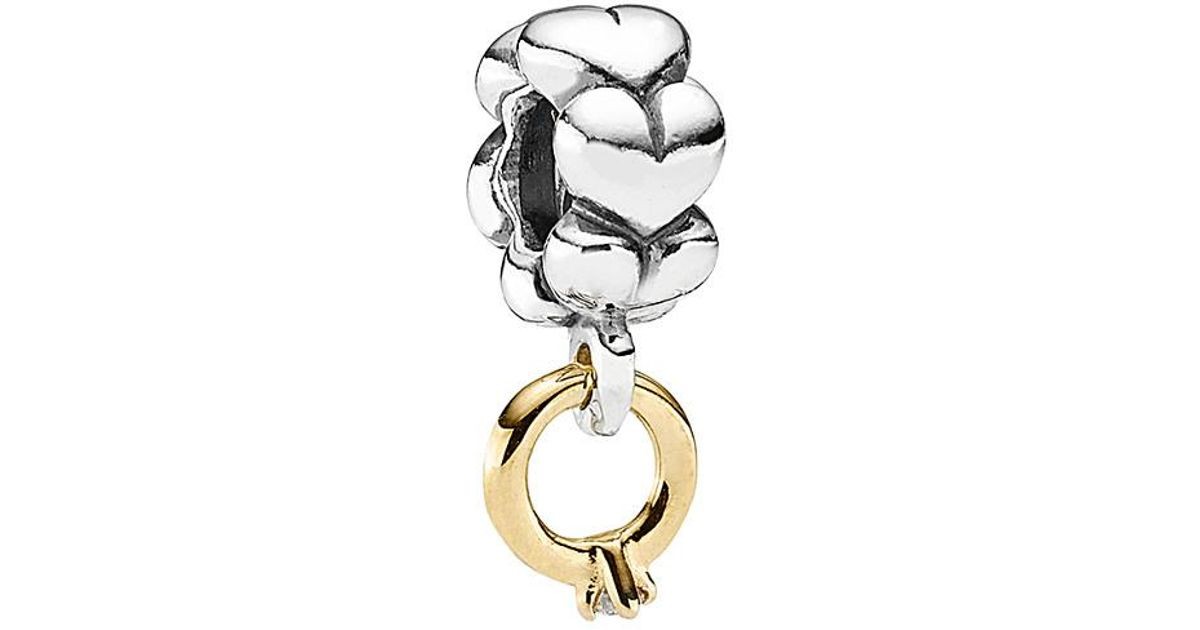 467eb15cf PANDORA 14k & Silver Diamond Wedding Ring Dangle Charm in Metallic - Lyst