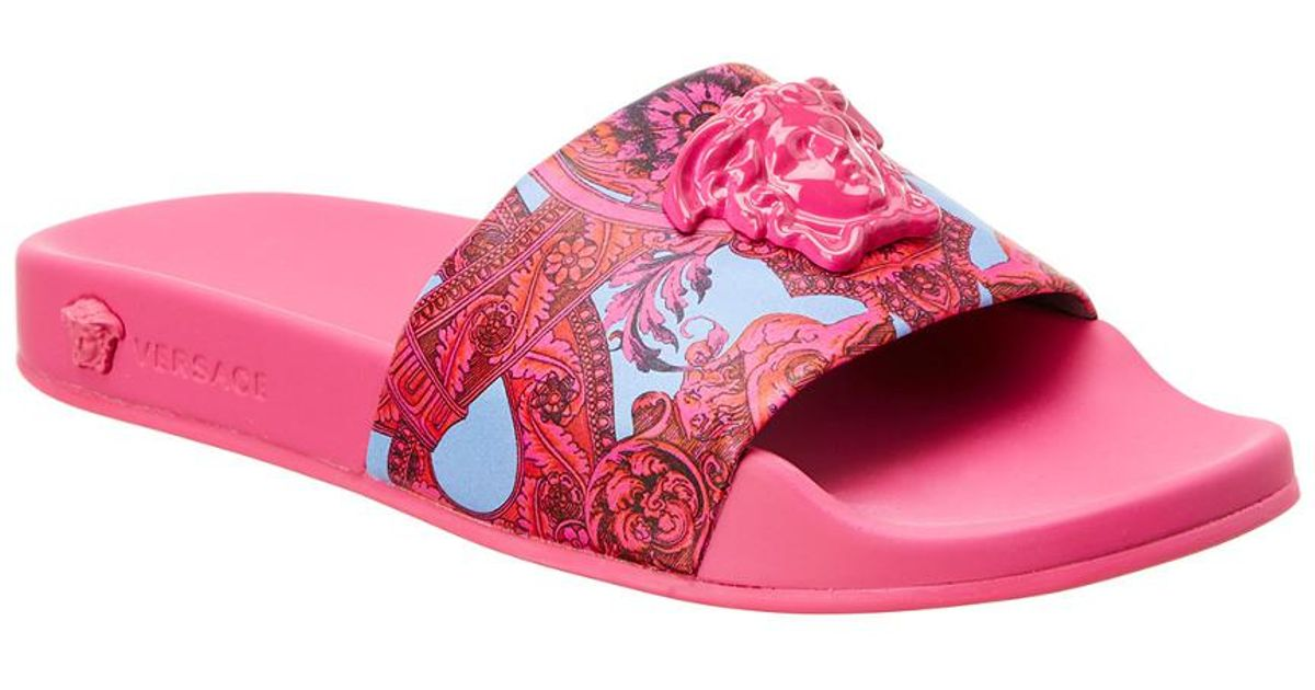 773402f3b7885 Lyst - Versace Barocco Istante Leather Slide Sandal in Pink