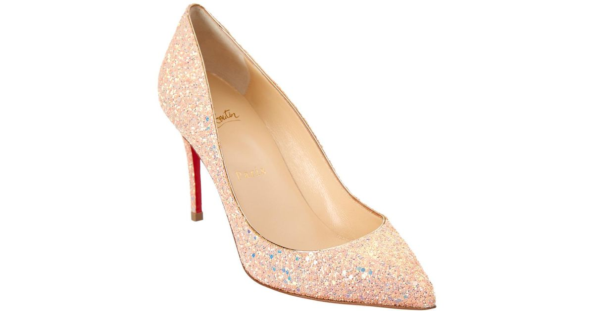 9cffe4bf6aa6 Lyst - Christian Louboutin Pigalle Follies 85 Glitter Pump in Pink