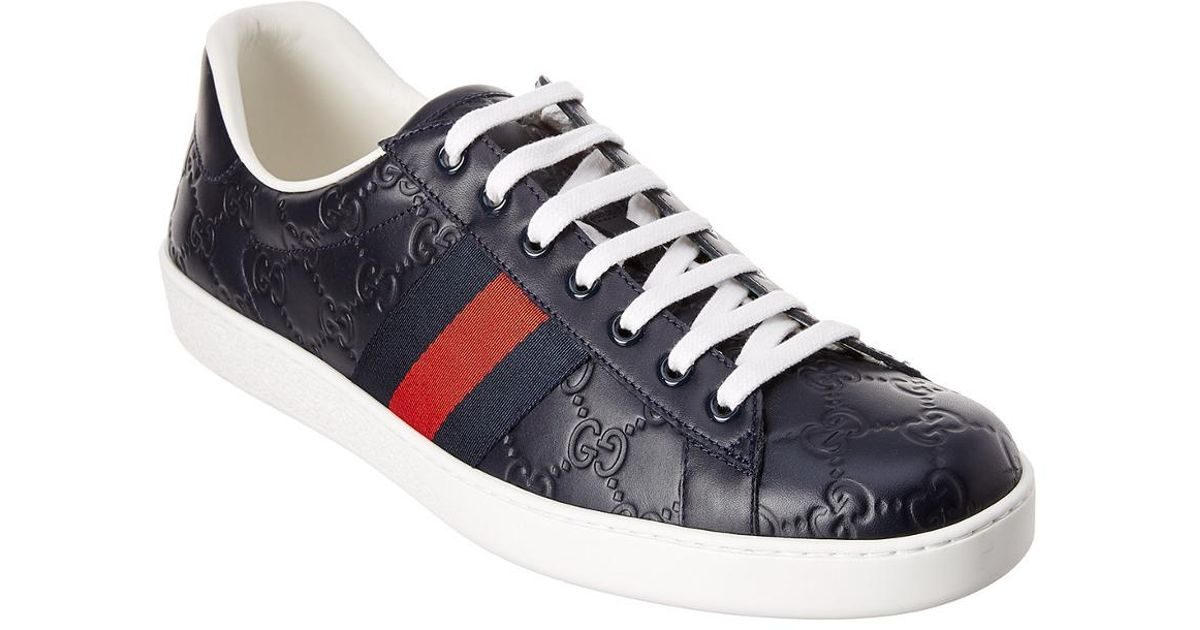 Gucci Ace Signature Leather Sneaker in