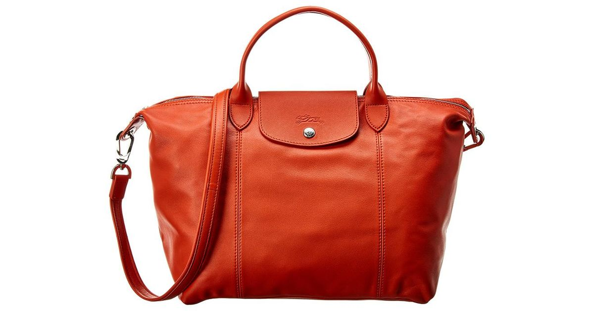 Longchamp Red Le Pliage Cuir Medium Leather Short Handle Tote
