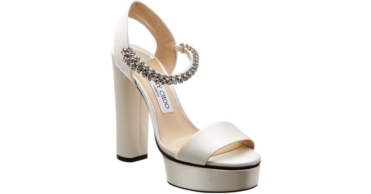 99df002b0a0 Jimmy Choo White Santina 125 Satin Platform Sandal
