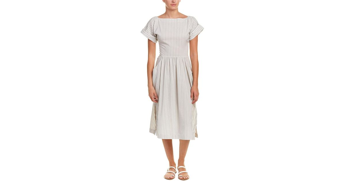 29ff9b0869c Lyst - James Perse Draped Midi Dress in White