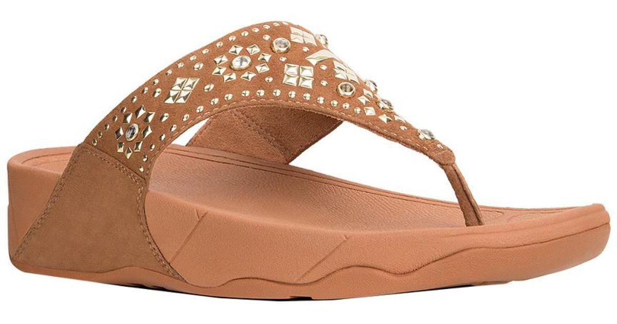 63e53a656bf2 Fitflop Lulu Aztek Stud Toe Thong Sandal in Brown - Lyst