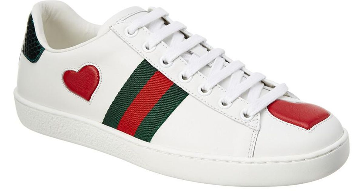 30df30332e8 Gucci Ace Embroidered Heart Leather Lace-up Sneaker in White - Lyst