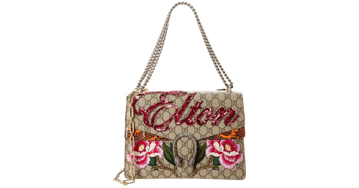 bbe3c43d2ba Lyst - Gucci Dionysus Medium Elton Embroidered Gg Supreme Canvas   Leather Shoulder  Bag in Natural