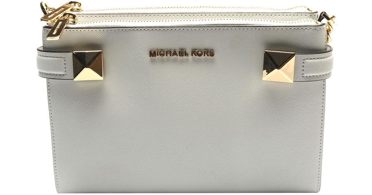 397fb75c1fe1 Lyst - Michael Kors Karla Ew Leather Crossbody in White