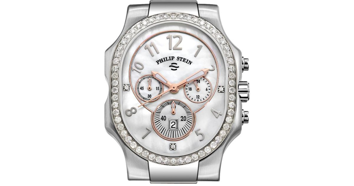 Philip Stein Metallic Clic Diamond Chronograph Watch Case Extra Large